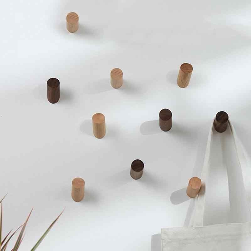 טבעי עץ קיר קולב וו חלוק עץ בית חדר קישוט קיר רכוב מעיל בגדי צעיף כובע תיק אחסון קולב ווים