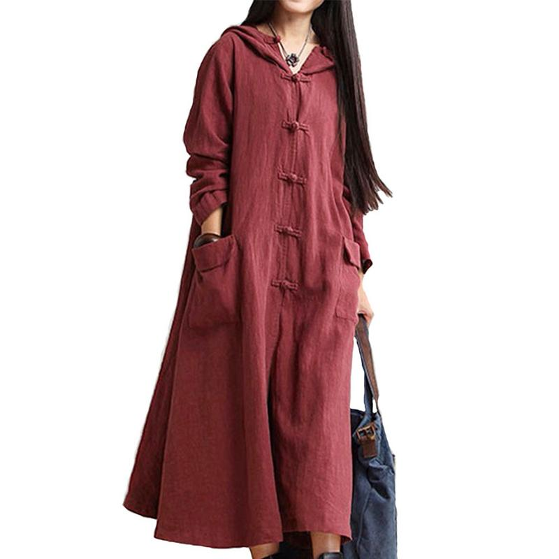 Women Hooded   Trench   Coat 2018 Fall New Button Pockets Brief Loose 5 Colour Linen Long Sleeve Vintage Coats