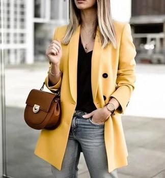 2019 femmes Double boutonnage Long Blazers bureau dame petit costume veste dames loisirs jaune Blazer lâche manteau Streetwear 1