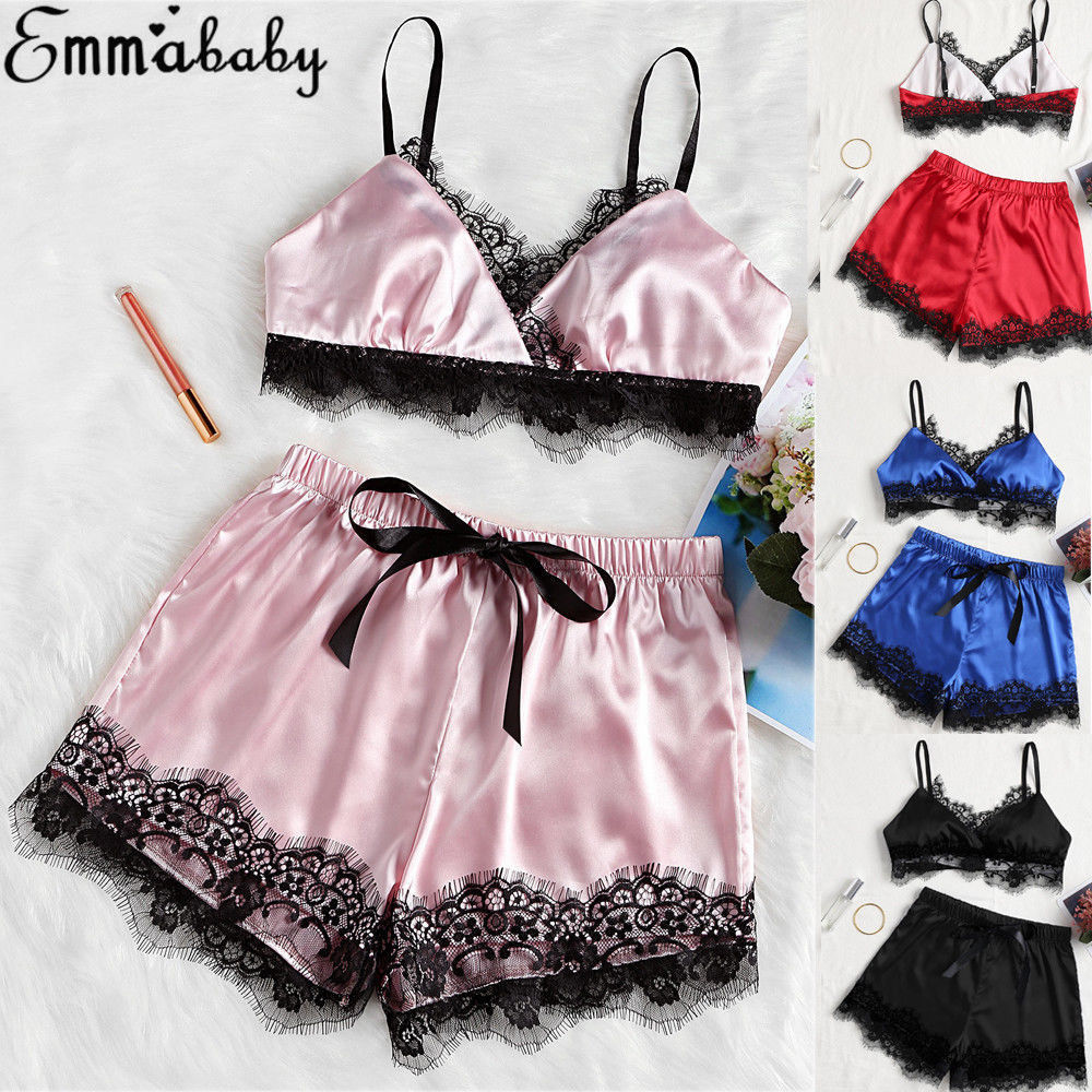 Womens Sexy Satin Lace Bra Cropped Top Shorts Babydoll Sleepwear Pajama Sets