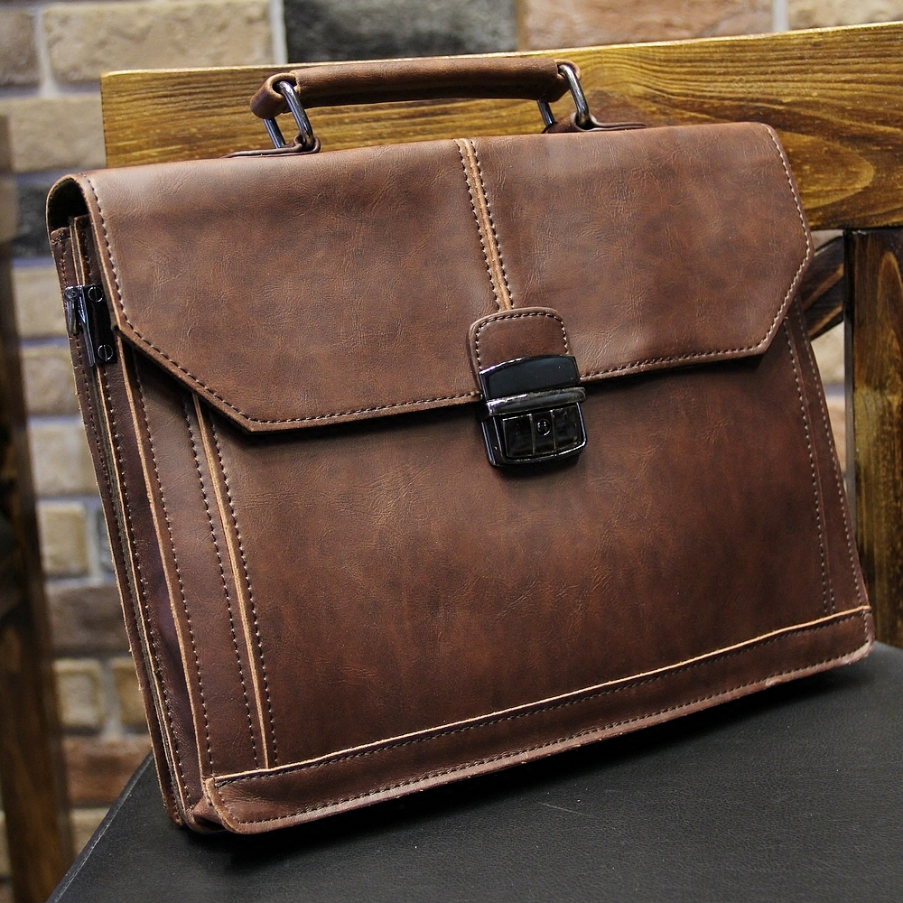 New Fashion Vintage Crazy Horse Leather File Briefcase Men Messenger Bags Coffee Color Fashion Portfolio 12