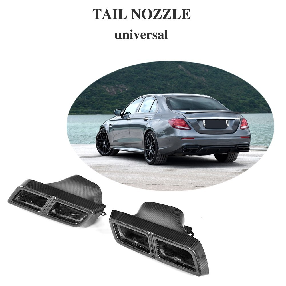 Pour Mercedes Benz universel sec fibre de carbone fin d'échappement silencieux embouts pour W204 W207 W211 GLC43 CLE63 S350 S550 33 cm * 19 cm