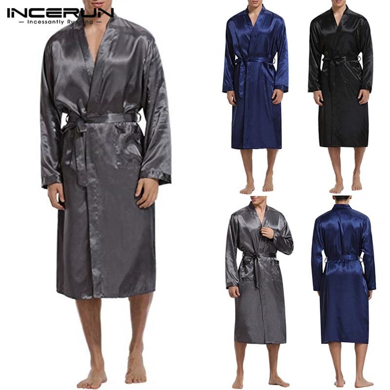 Zielsetzung Mode Kimono Seide Satin Herren Bademantel Langarm Lange Bademantel Leichte Nachtwäsche Gürtel Morgenmantel Pyjamas Männlichen Robe