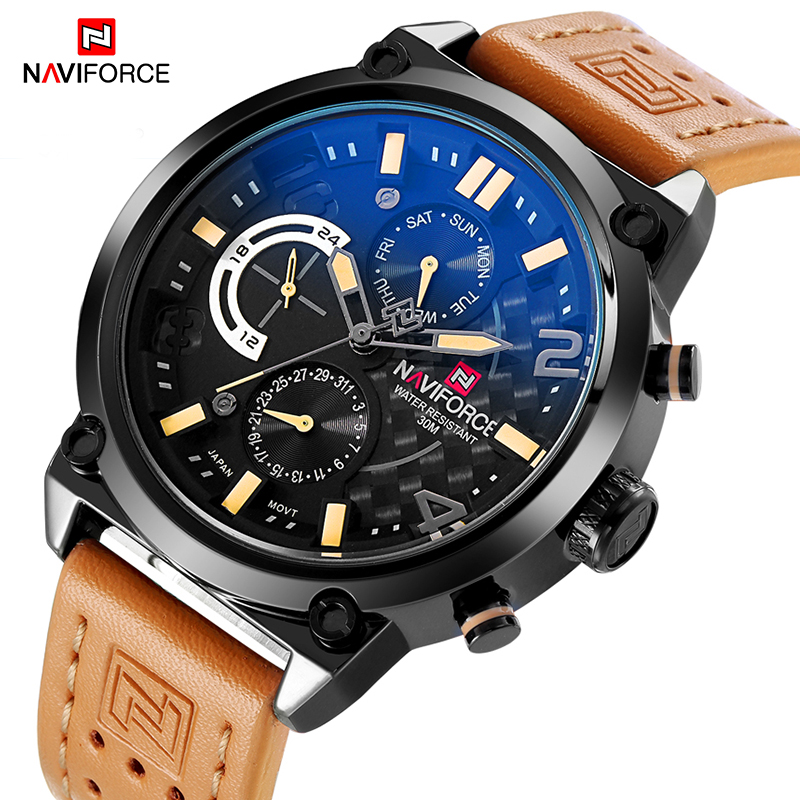 Men Sport Watches NAVIFORCE Luxury Brand Men Quartz Watch Genuine Leather Strap Hot Male Calender 30M Waterproof Wristwatches
