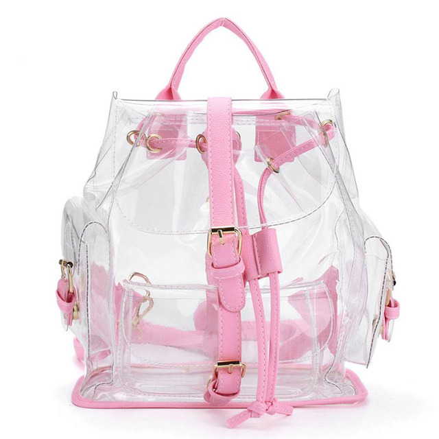 bd7bf478e6 Korean cute Clear Plastic Transparent Backpacks ladies women girl student Female  Backpack travel Bag PVC School