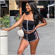 Women Crop Tops Shorts 2 Two Piece Sets Casual Drawstring Strapless Tube Top Hot Mini Shorts Side Striped Sport Fitness SET'S