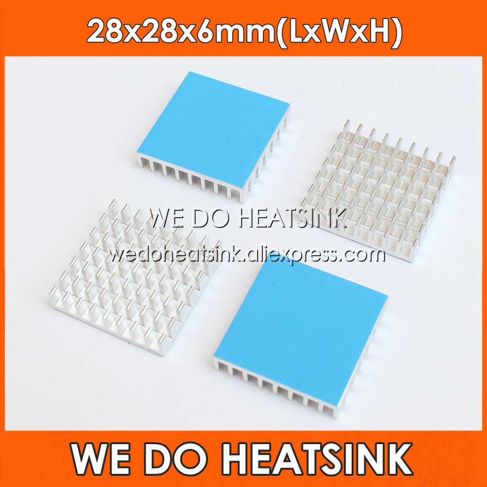 WE DO HEATSINK 5pcs 28*28*6mm Aluminum Slotted Heatsink Radiator Heat Sink Cooler With Thermal Adhesive Double Sided Tapes Pad