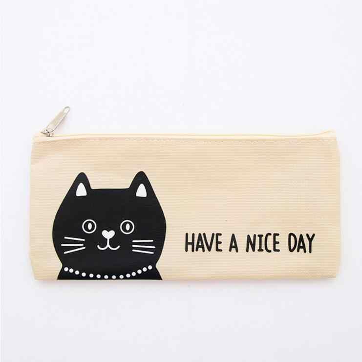 Bolsa de lápiz de lona portátil con diseño de gato León Kawaii de la historieta de 1 pieza
