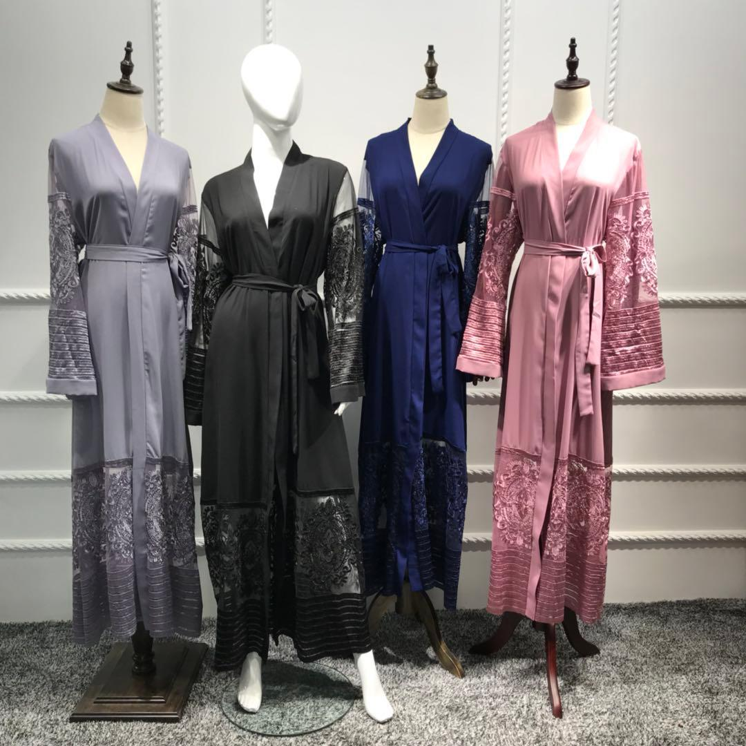 Muslim Women Cardigan Abaya Dress Lace Embroidery Patchwork Shift Maxi Belt Gown Middle East Open Front