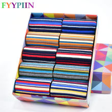 FYYPIIN 2019 Casual Men's Color Stripes Five Large Size Cotton Socks 10 Pairs