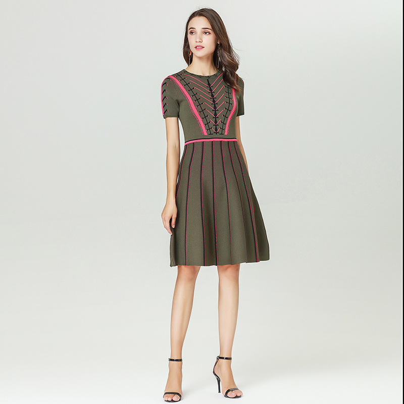 Ruway Spring 2019 New Micosoni Brand Office Lady Dress A line Slim Women s clothes Striped