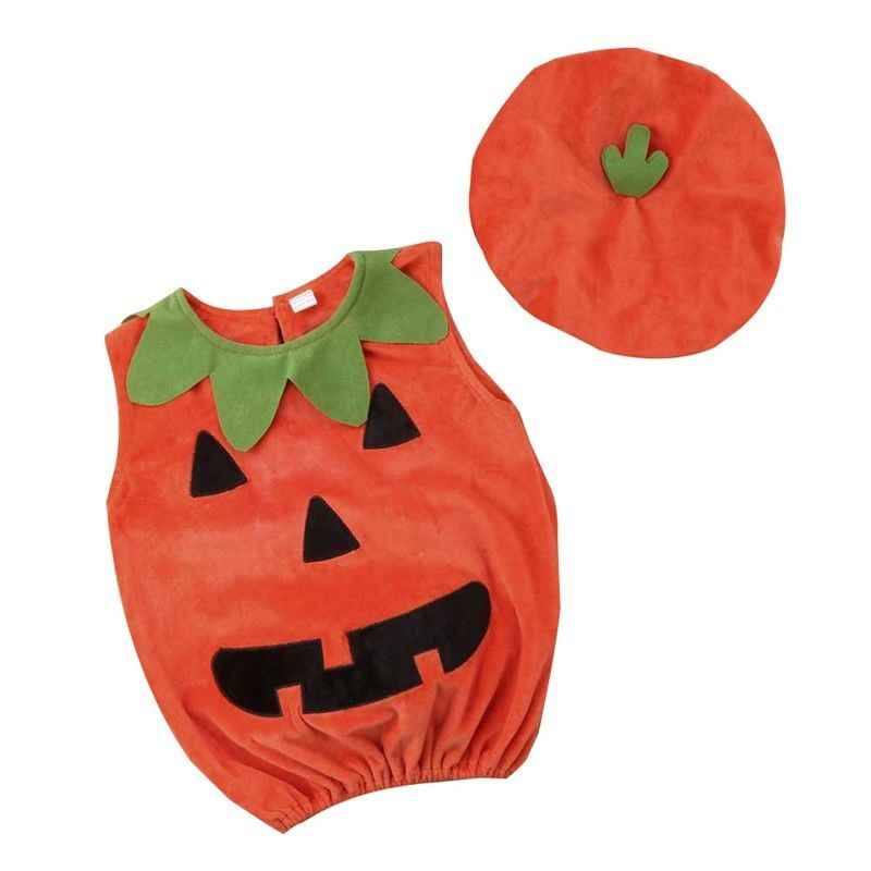 Emmababy Cosplay Halloween Baby Kid Pumpkin Suit Top Blouse Dress+Hat Clothes Costumes