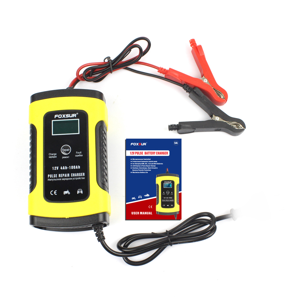 Full Automatic Car Battery Charger 110V-220V To 12V <font><b>5A</b></font> Intelligent Fast Power Charging Wet Dry Lead Acid Digital LCD Display image