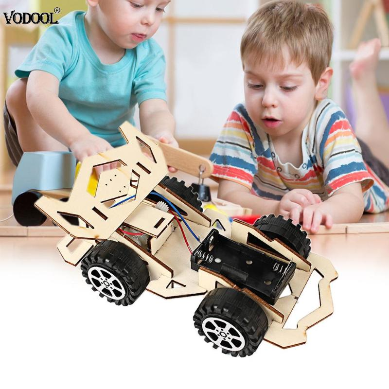DIY Electric Wood Racing Car Assembled Puzzles Scientific Experiment Toy Science Education Toys Portable Durable