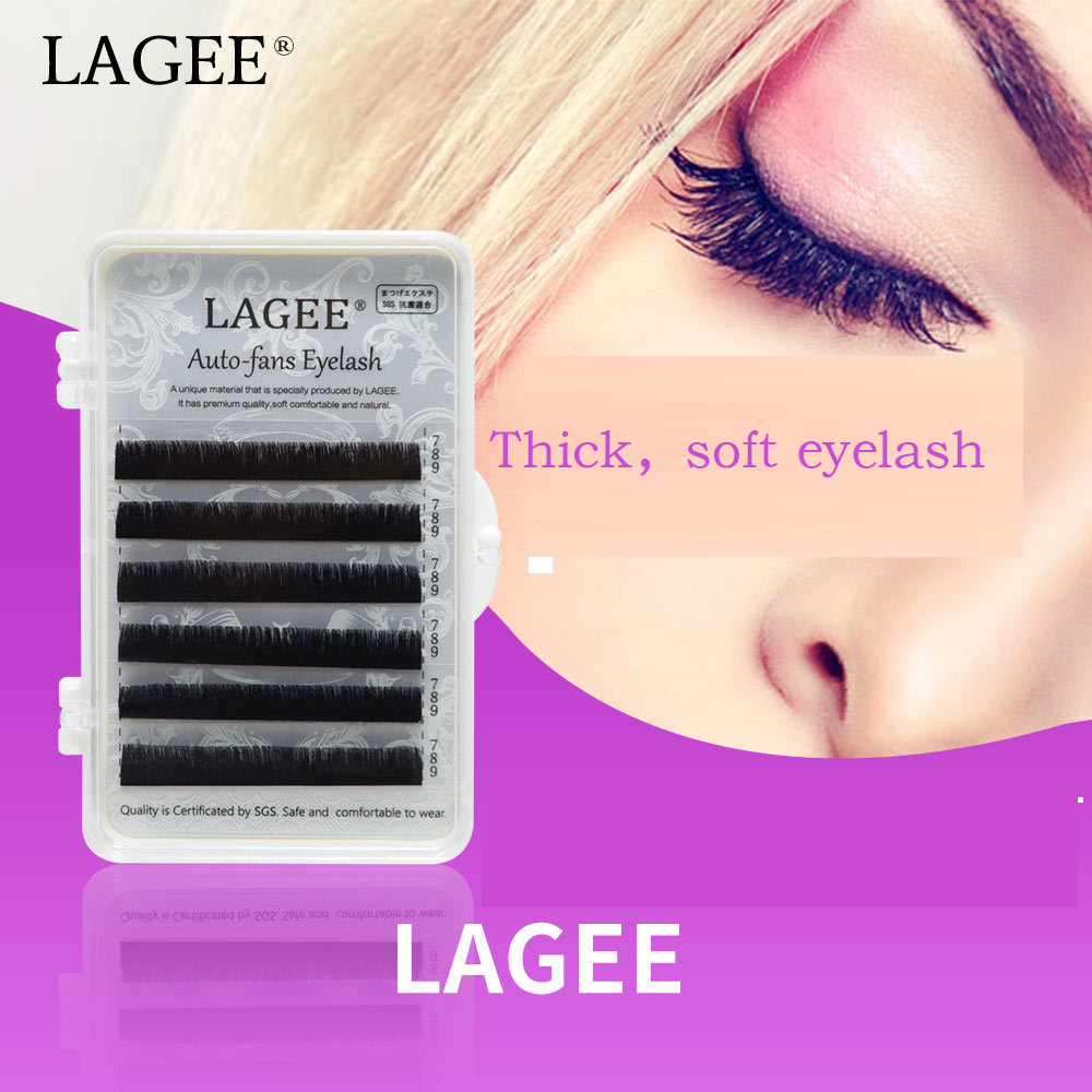 LAGEE Thick soft Eyelash Extensions Auto fans eyelash Easy fan lash 0.05mm Mixed Length Faux Mink Natural long