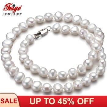 c963a773b2f3 Clásico de perlas naturales Collar de Collar para las mujeres joyería de  aniversario regalos 7-8 MM blanco perla de agua dulce