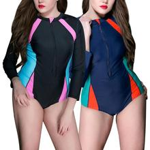 1pc Women's Swimsuit Plus Size Sunscreen Long Sleeve Diving Suit Surf Clothing Rash Guard Swimwear Zip Front Swim Bathing Suit 2018 new women s postpartum swimwear ladies sunscreen clothing ladies swimwear suit surf clothing diving clothing swimwear vy715