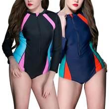 b8acd8e41fb43 1 pc de las mujeres traje de baño Plus tamaño protector solar de manga  larga traje