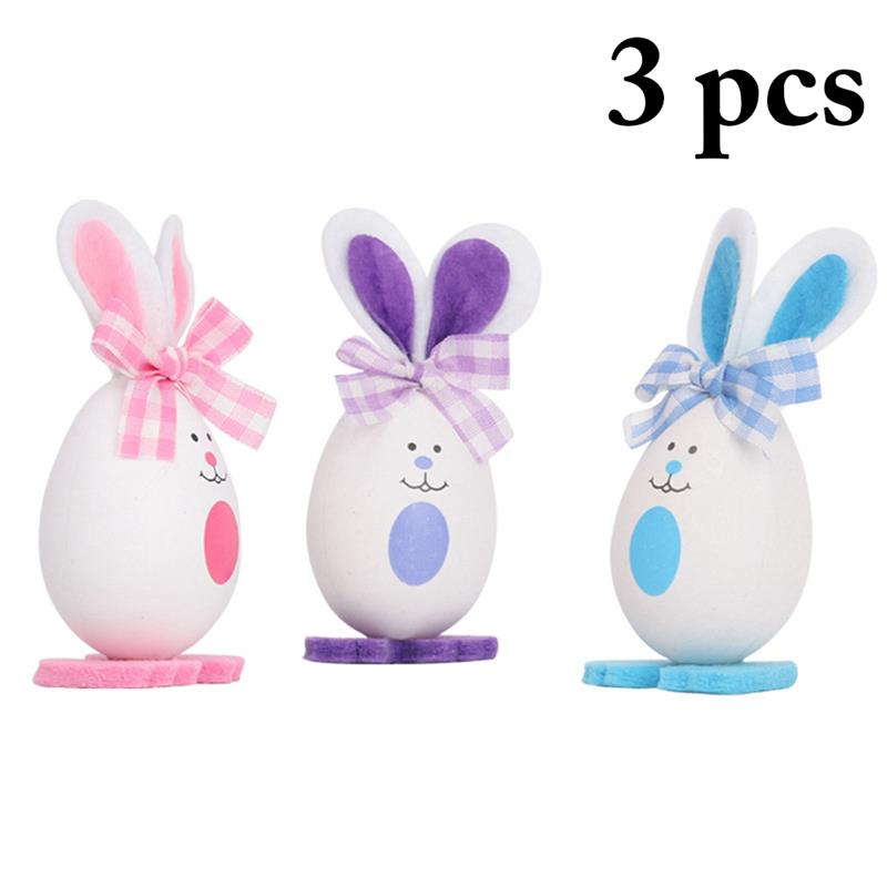 34c297ca3b6e2d 3PCS Easter Decoration Egg Bunny Ornaments Easter Eggs Foam Lovely Rabbit  Desk Ornaments Family Cute Ornaments