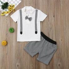 цена на Fashion Boys Clothes Summer Gentleman T Shirt Shorts Pants Boys Outfits Boy Clothes Kids Costume Children Clothing Set Kids Set