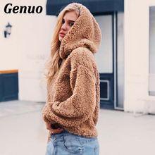 2018 New Hooded Faux Fur Coat Women Autumn Winter Long Sleeve Elegant Hoodies Pullovers Jacket Female Genuo Top