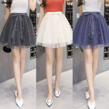New Sexy School Girls Striped Short Skirts Womens Harajuku A-Line Party Mini Skirt Ladies High Waist Pleated Skater Skirt Saia