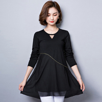 Women's Solid O neckCasual Loose Blouse 2019 Spring Summer Women Tops And Blouses Female Shirts Plus Size 5XL