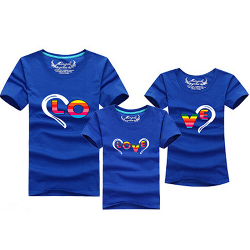 1pc мода семейство съвпадение тоалети сърцеобразна тениска 12 цветове корейски семейни дрехи майка баща дъщеря син дрехи