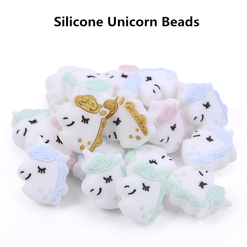 Chenkai 50PCS Silicone Unicorn Teether Beads DIY Baby Animal Cartoon Chewing Pacifier Dummy Sensory Jewelry Gift Toy Accessories