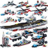 659PCS 8 In 1 Aircraft Carri Building Blocks Bricks Toys Legoings Models Military Ship DIY Model Building Blocks Kits Boys Gifts