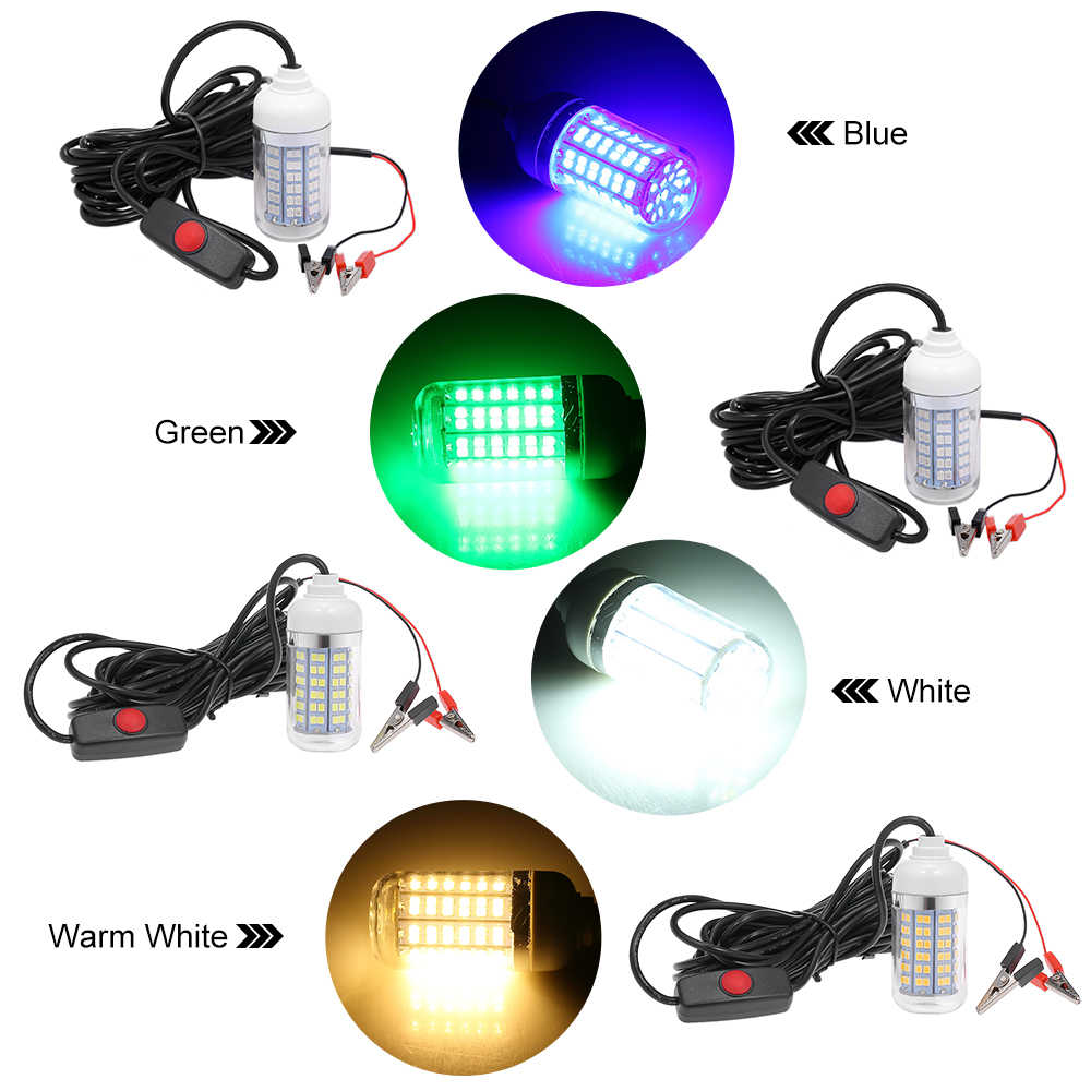Lixada 12V 15W LED Lamp Underwater Fishing Light  Fish Finding System 108pcs of 2835 LED Fish Attracts Lure Lamp for Carp Pesca