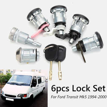 6Pcs Full Left Right Lock Set Front Rear Door Ignition w/2 Keys For Ford Transit Mk5 1994-2000 - DISCOUNT ITEM  13% OFF All Category