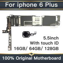 Заводская разблокированная материнская плата для iphone 6 Plus 16 Гб 64 Гб 128 ГБ IOS логическая плата оригинальная материнская плата с сенсорным ID для iphone 6 Plus