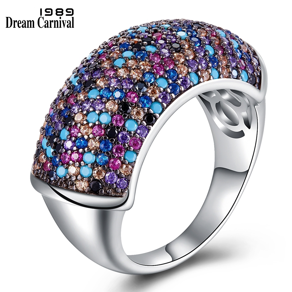 DreamCarnival 1989 Highly Recommend Super Deluxe Wedding Rings for Women Multi Color Zircon Pave Bridal Must