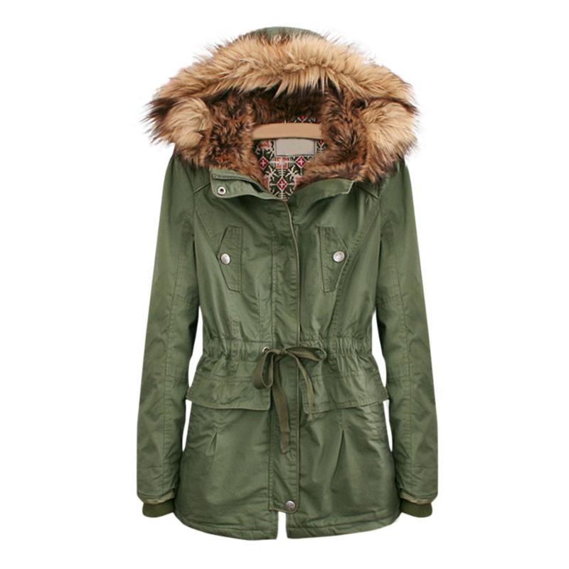 Women Hooded Warm Coat Long Parkas Fur Collar Zip Up Pockets Solid Color Adjustable Drawstring Girls Winter Warm Jackets