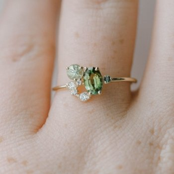 Green Diamond Ring 14k Yellow Gold Fresh Engagement Anillos De Amethyst Ring for Women Day Emerald Bague Etoile Bizuteria 2019 new free shipping 11 68ct 15mm round purple amethyst 14k gold natural diamond engagement ring