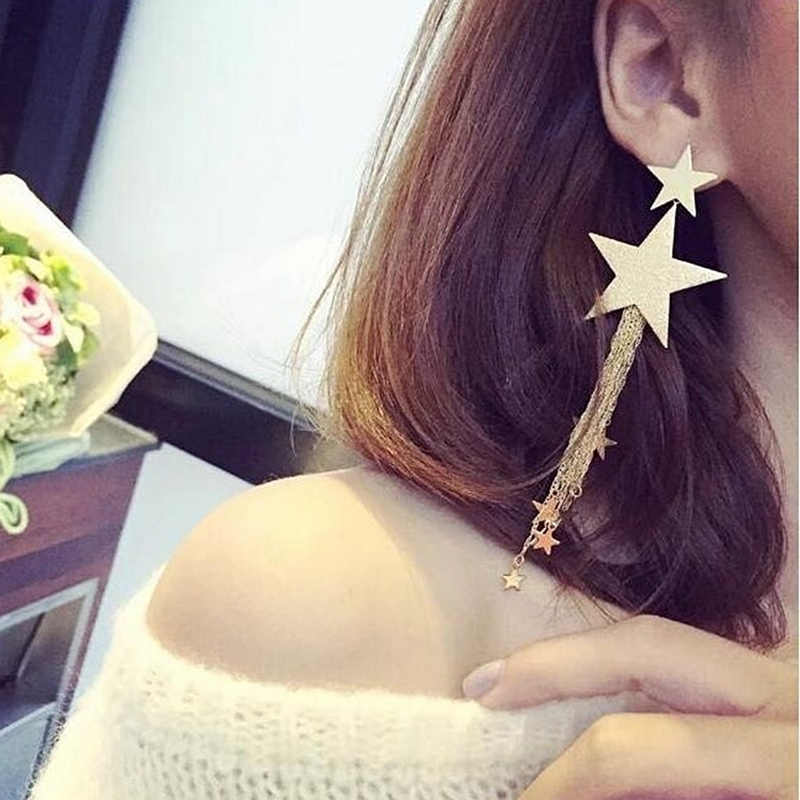 2019 New Arrivals Hot Fashion Brincos Bijoux Pentagram Star Metal Chain Long Statement Tassel Drop Earrings For Wome Jewelry