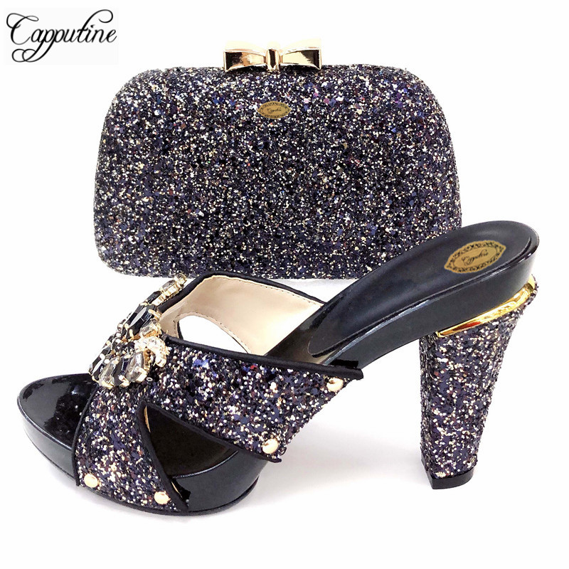 Capputine Nigeria Ladies Slipper Shoes Purse Set Italian Elegant Rhinestone Spike Heels Shoes And Bags Set To Match For PartyCapputine Nigeria Ladies Slipper Shoes Purse Set Italian Elegant Rhinestone Spike Heels Shoes And Bags Set To Match For Party