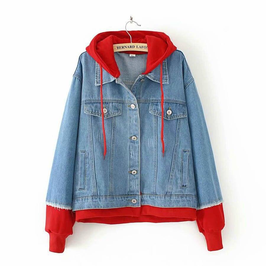 Patchwork Casual Jeans Jacket Women Red Coats Autumn Outerwear Plus Size 3XL 4XL Regular Hooded Denim Jackets Blue A9323
