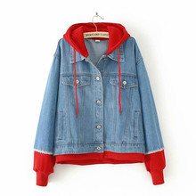 Patchwork Casual Jeans Jacket Women red Coats Autumn Outerwear