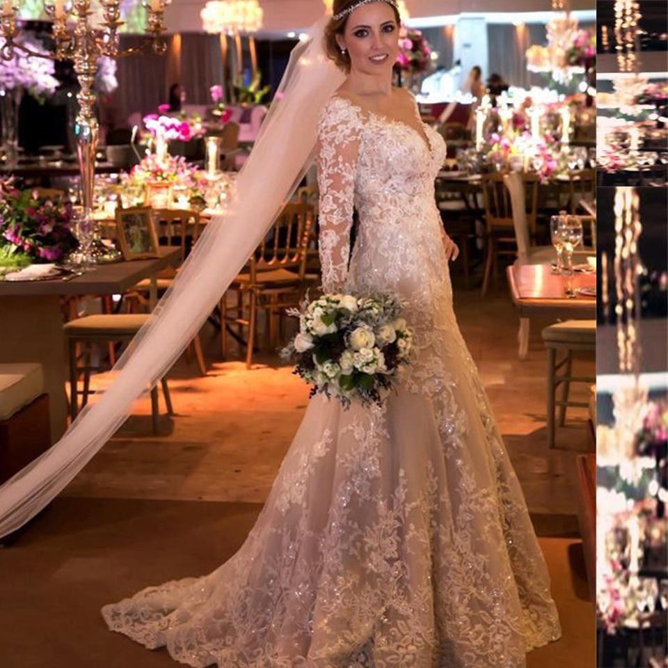 Shinning Vestido de noiva 2019 Sexy See Through Back Long Sleeves Lace Beach Wedding Dress Sparkly