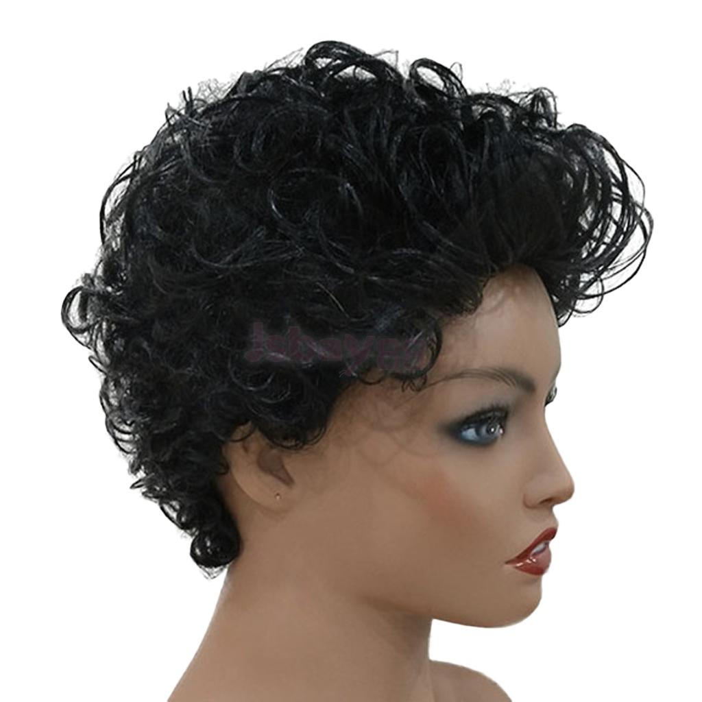 Black Afro Curly Wig Short Finger Wave Wigs Natural Looking Real Human Hair Wigs for Women nlw brazilian virgin human hair full lace wigs afro kinky curl glueless wigs page 8