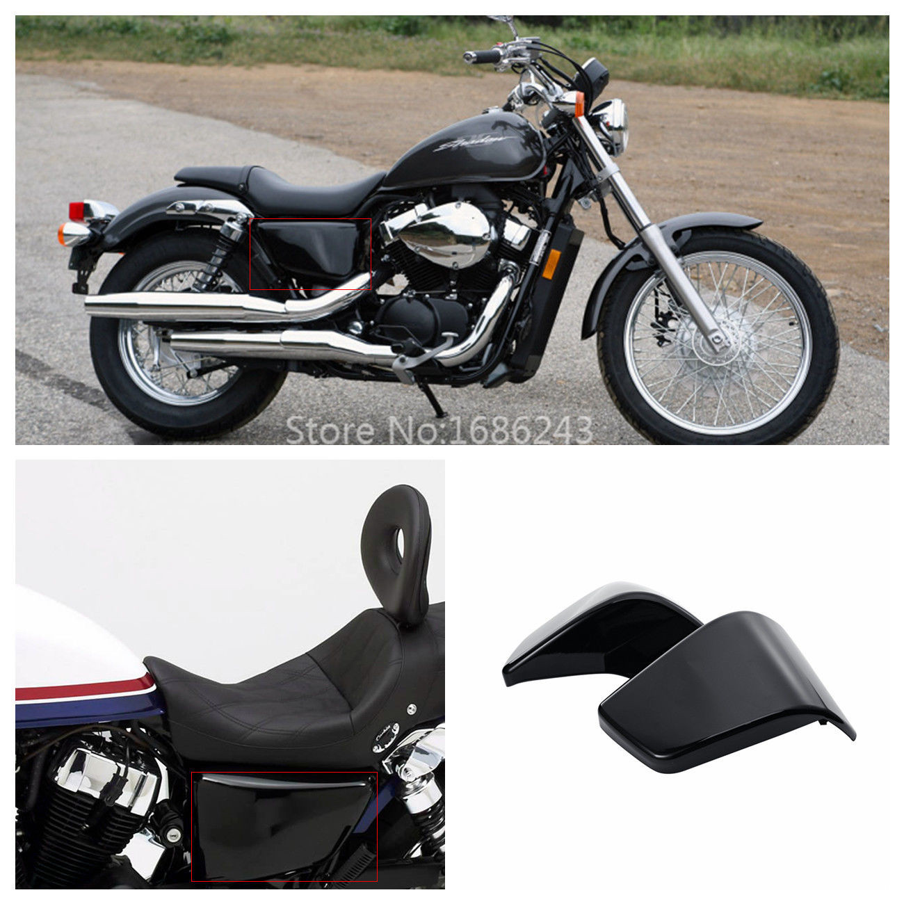 Black Battery Side Fairing Cover For Honda Shadow ACE 750 VT750 C D VT400 97-03