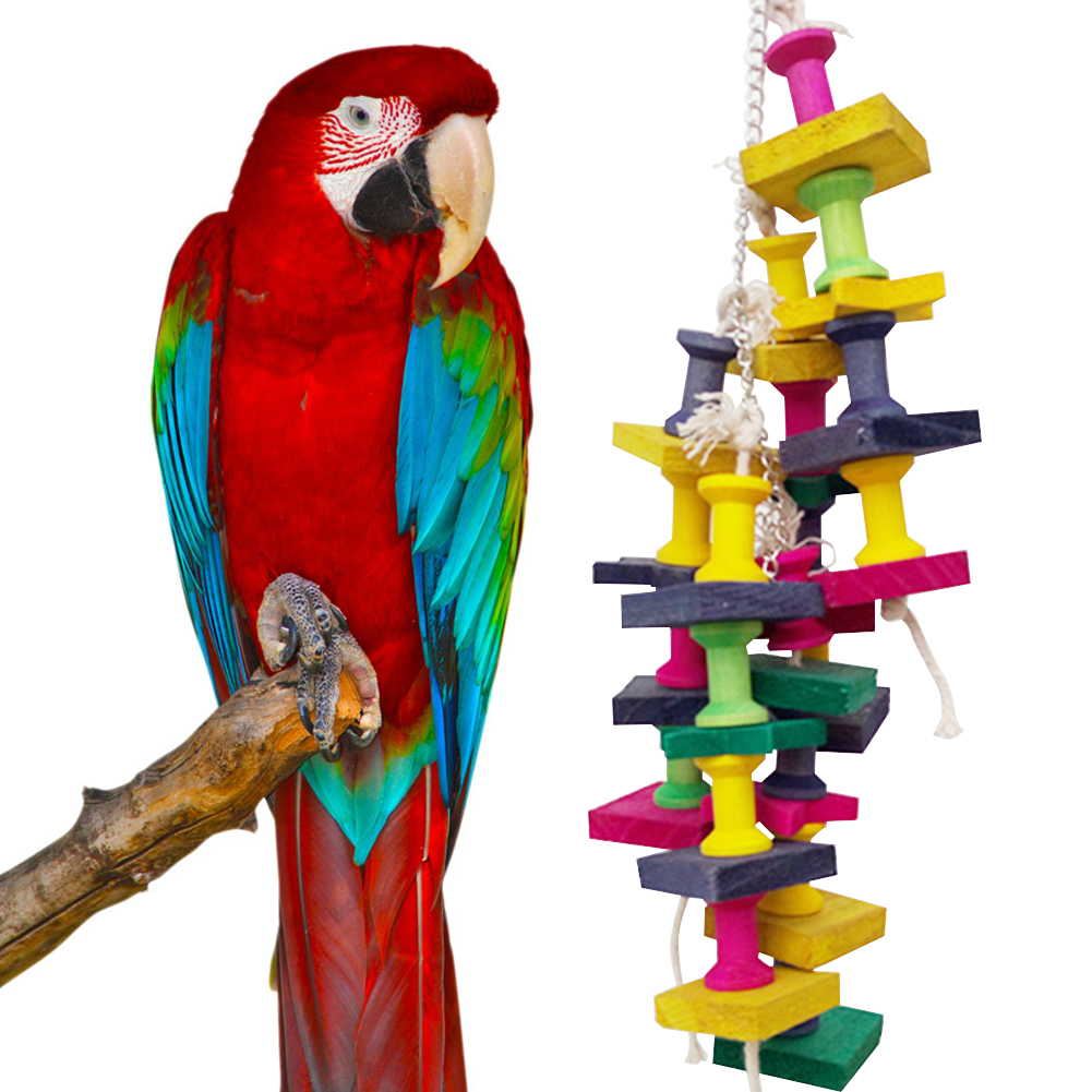 High Quality Colorful Parrot Toys Macaw Cage Chew Bird Toys Natural Wood Ladder  For Parrots Pet Bird Conure Swing Scratcher