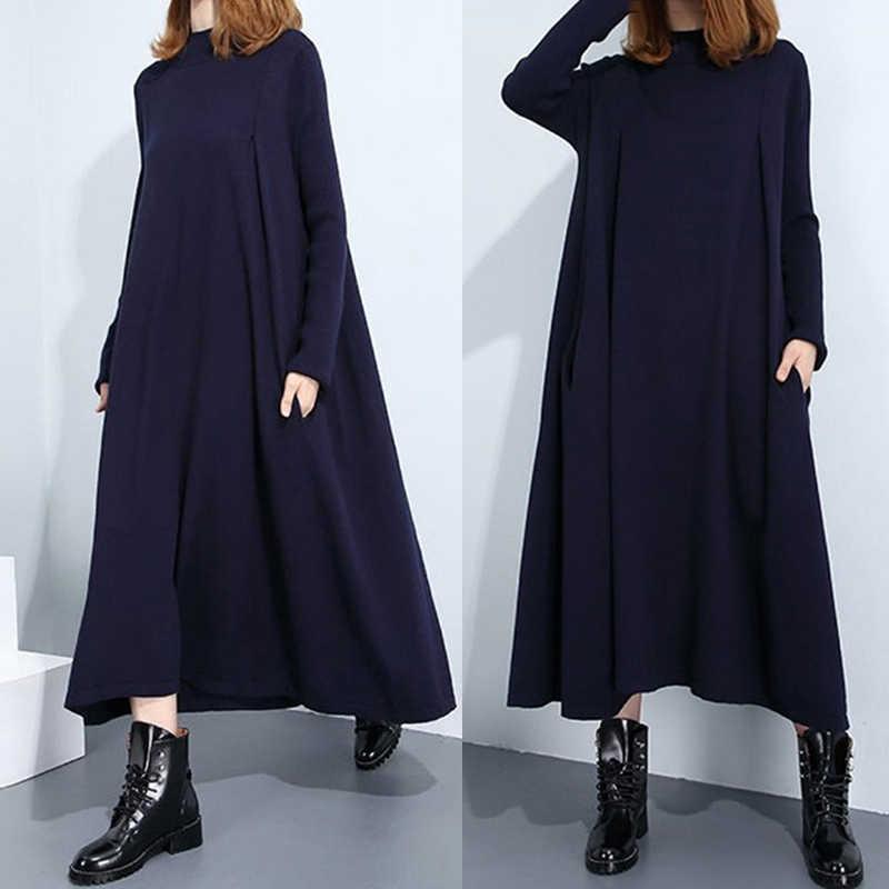 Женское длинное платье-рубашка в стиле панк, вечернее платье с высоким низким вырезом, мешковатое свободное платье черного цвета