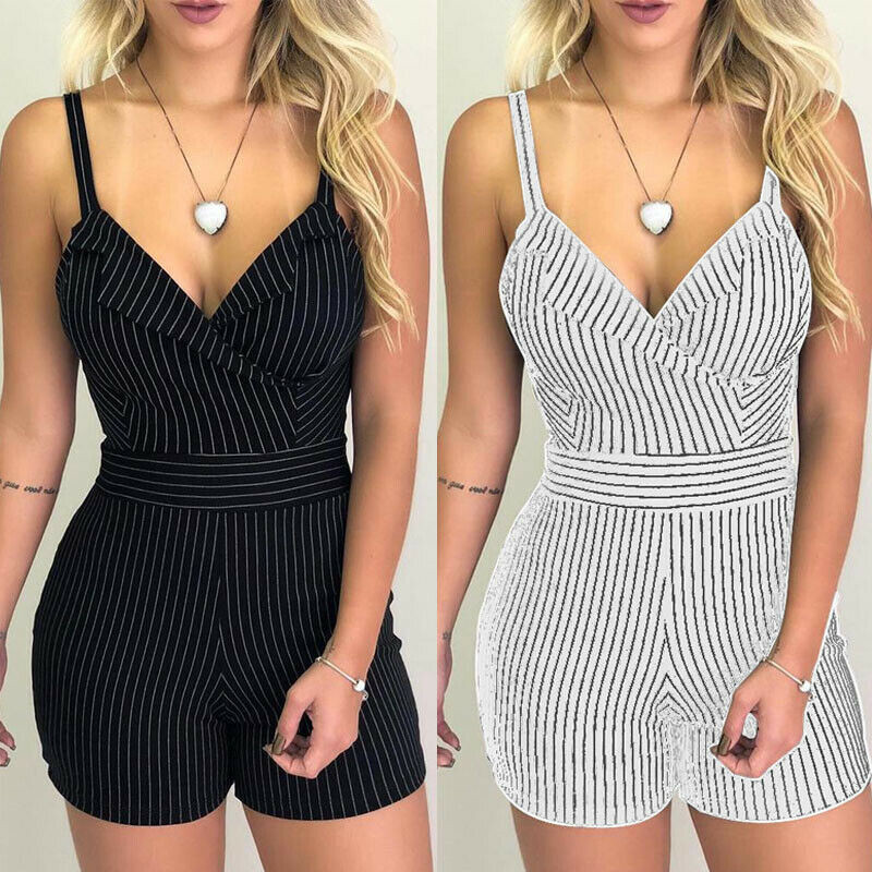 Sexy Women Boho Playsuit Jumpsuit Rompers Summer Beach Casual Mini Short Playsuit V-neck Strap High Waist Striped Romper Trouser