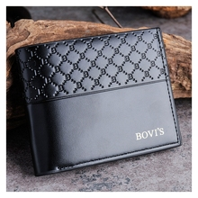 Korean Mens Wallet Printed Cross-Section Fashion Business Bag Retro Classic Leather
