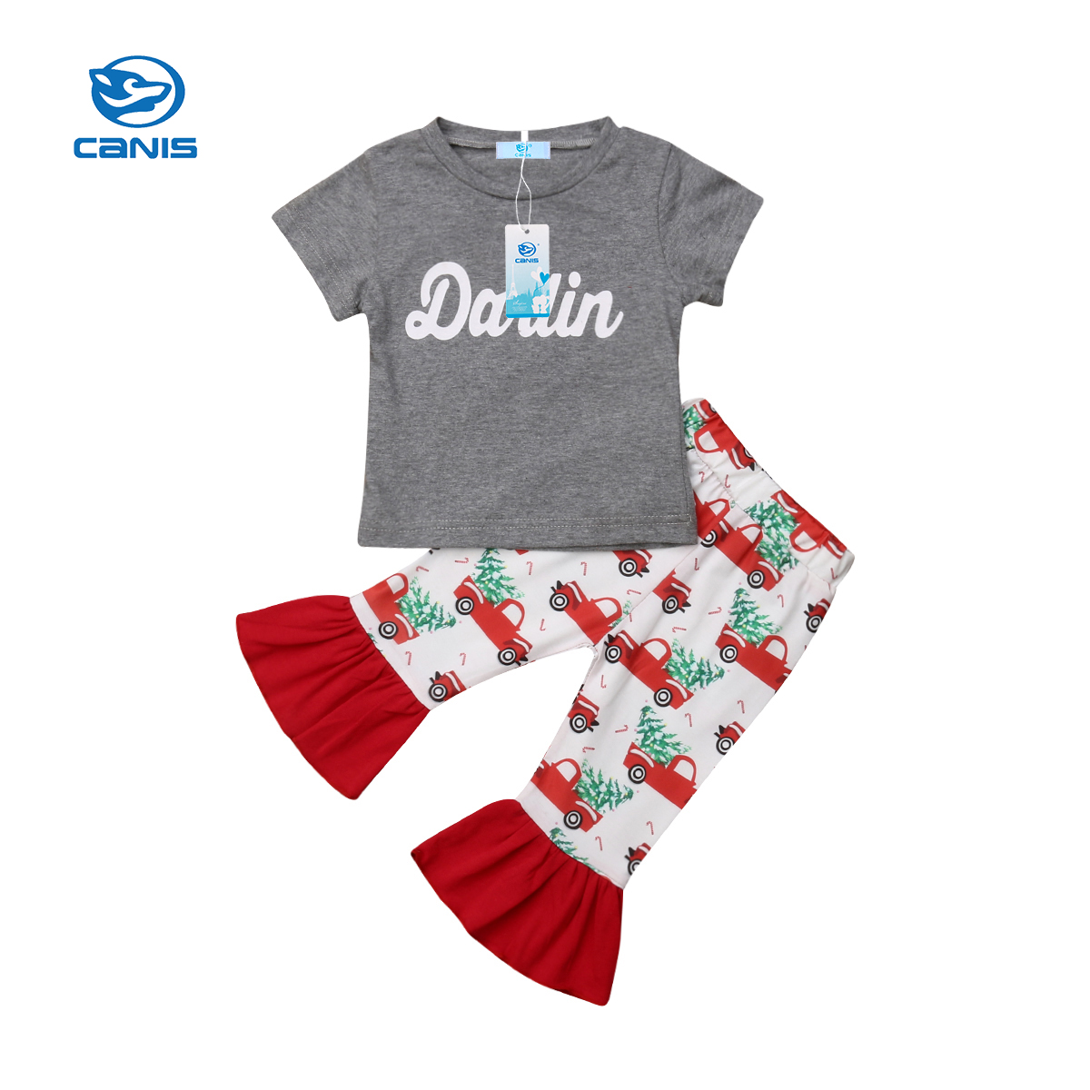2PCS Toddler Kids Baby Girl Xmas Outfit T-shirt Dress+Leggings Pants Clothes Set