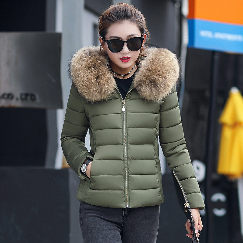 Try Everything Short Winter Jacket Women Army Green Woman Parkas 2019 Faux Fur Parka Plus Hooded Coat For 4XL