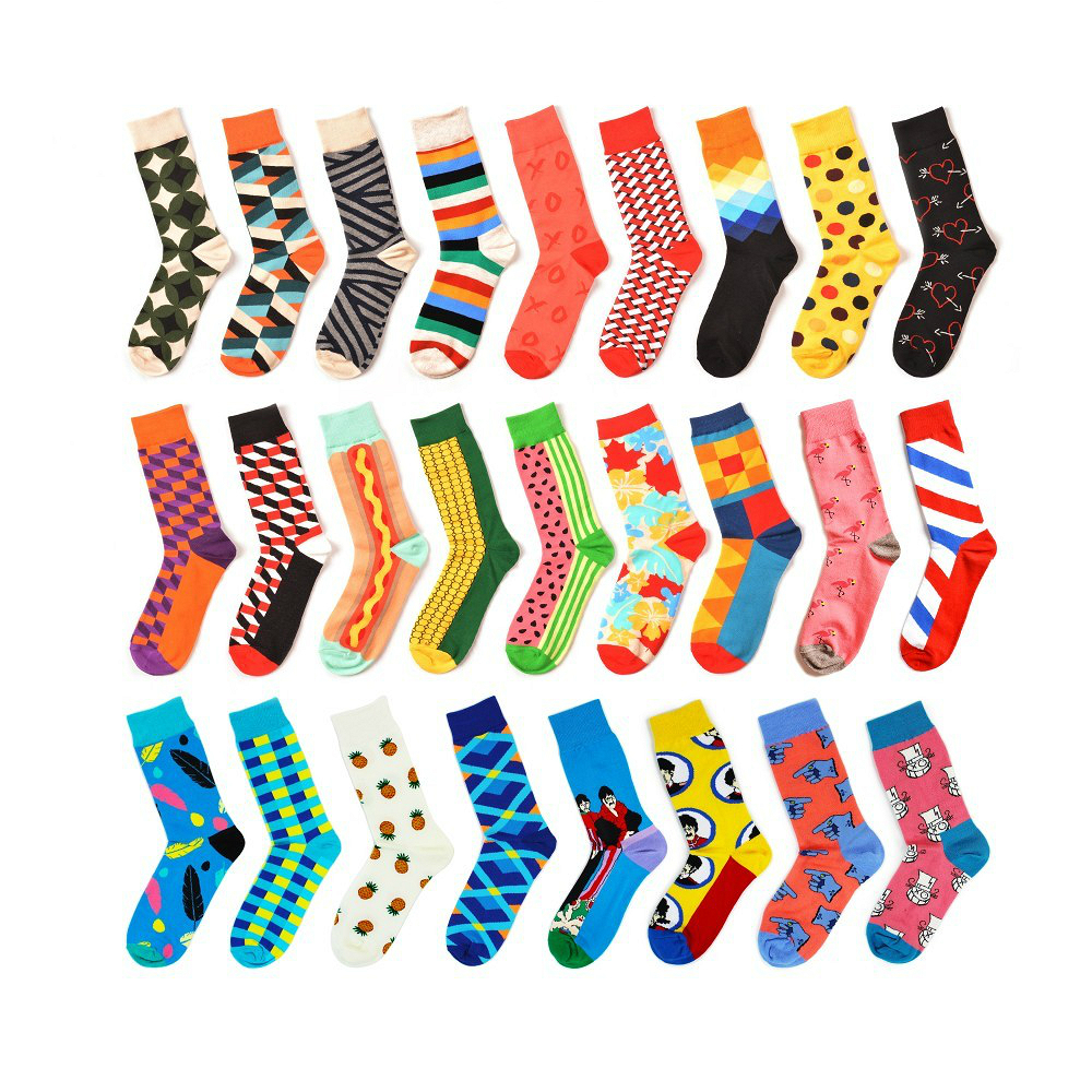 New Casual Combed Cotton Men's   Socks   Tend Harajuku Street Hip Hop Funny Happy   Socks   Colorful Plaid Pattern   Socks   For Men
